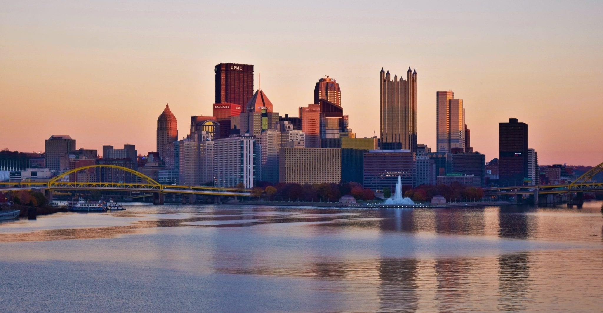 Though Squirrel Hill isn't visible in this image of Pittsburgh and the Point, the sunset shot at golden hour is still one of my favorites