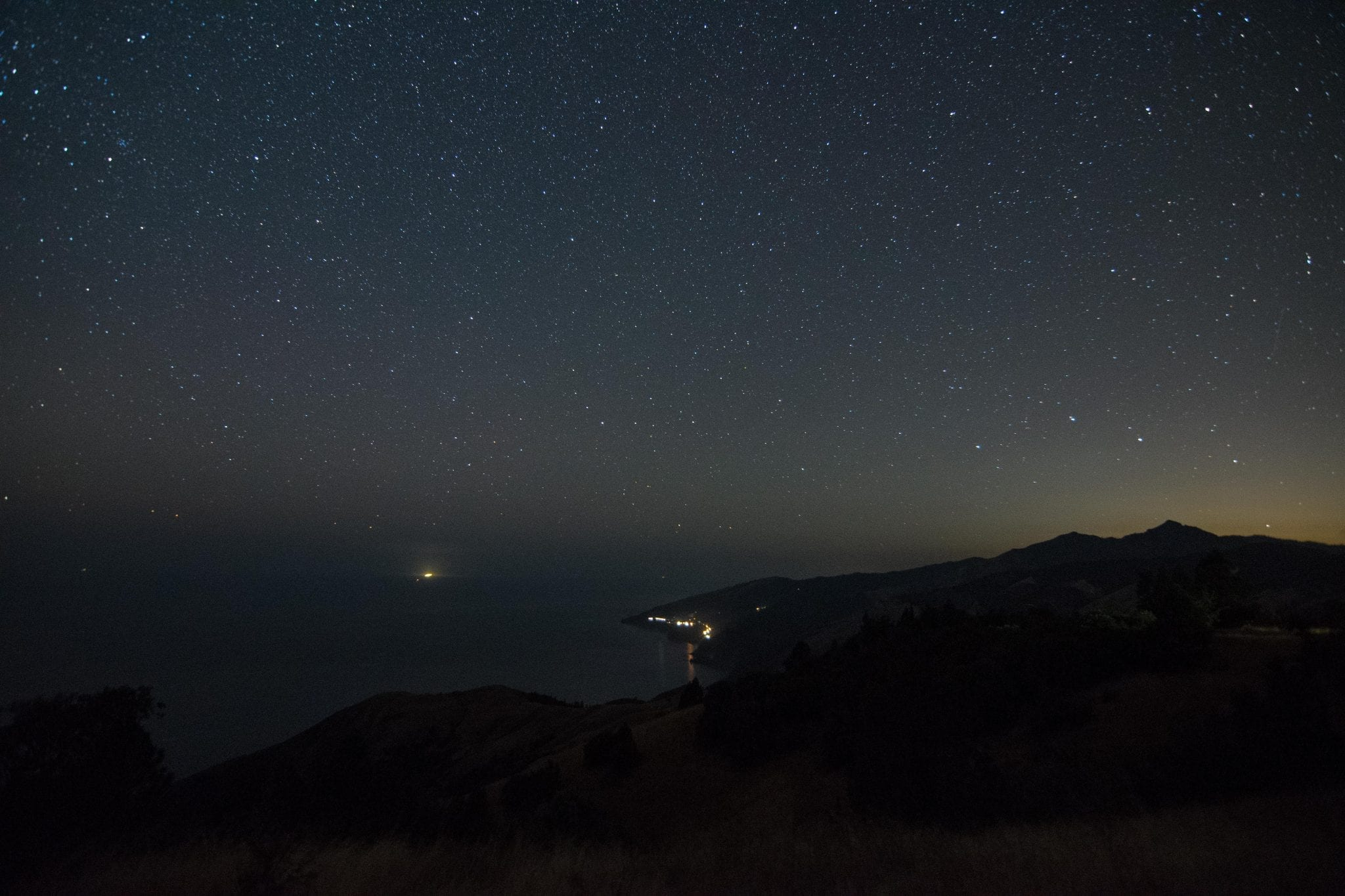 starry night sky over pacific coast highway route one California from big sur state park
