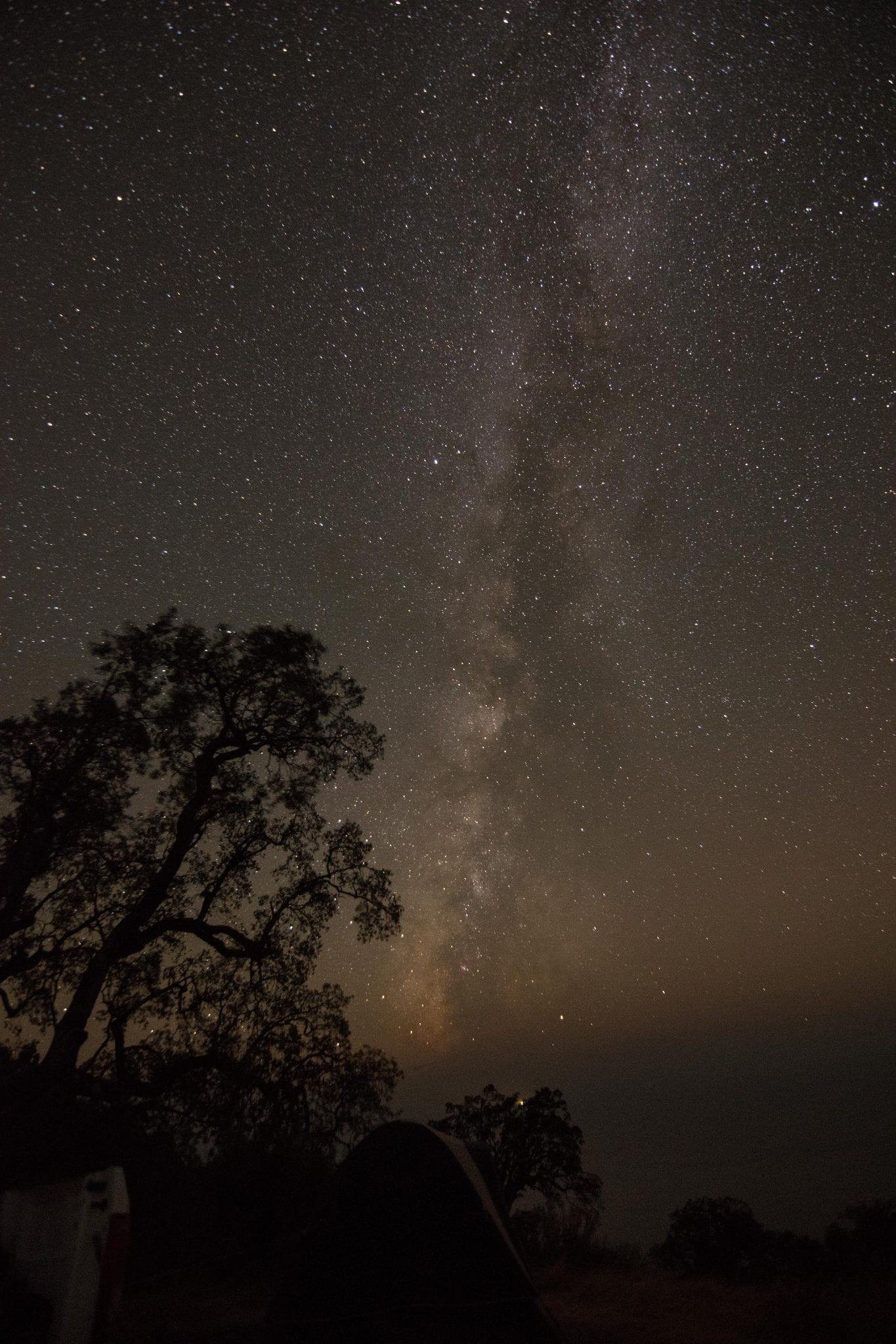 Milky Way Live Oak tree tent campsite Pacific Ocean big sur California