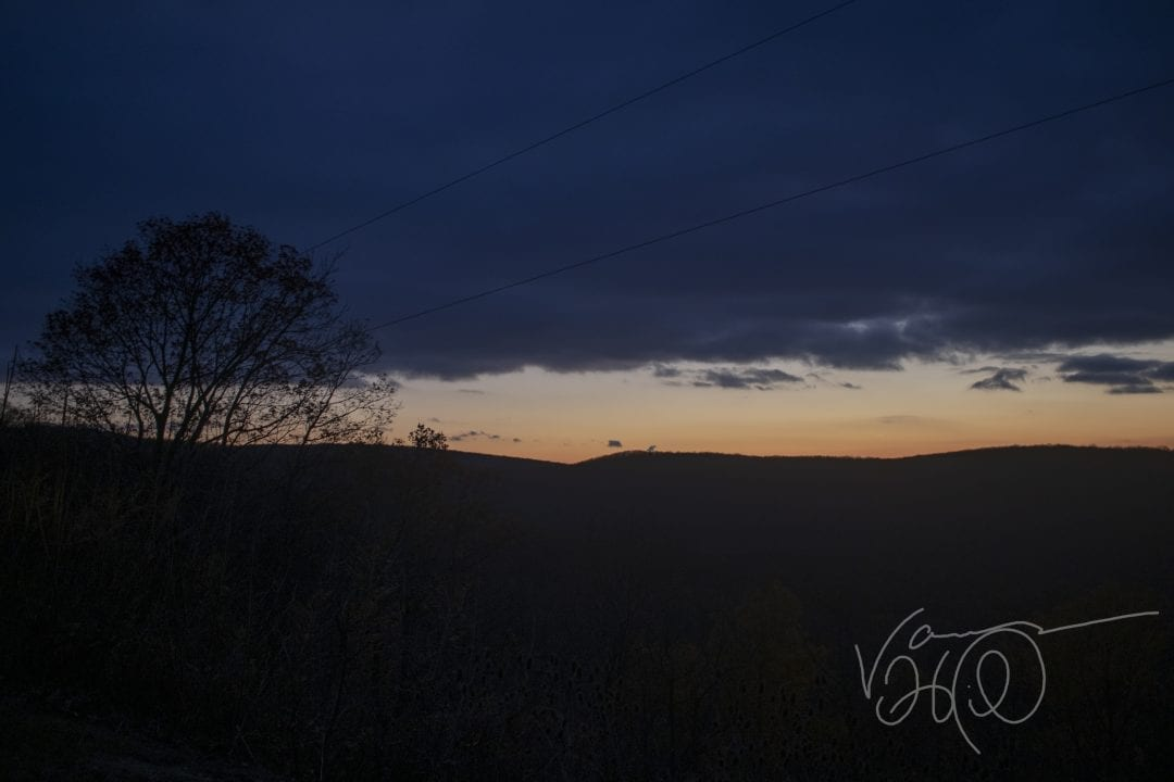 The Scenic Overlook on Route 40 south of Uniontown PA, photographed at nightfall