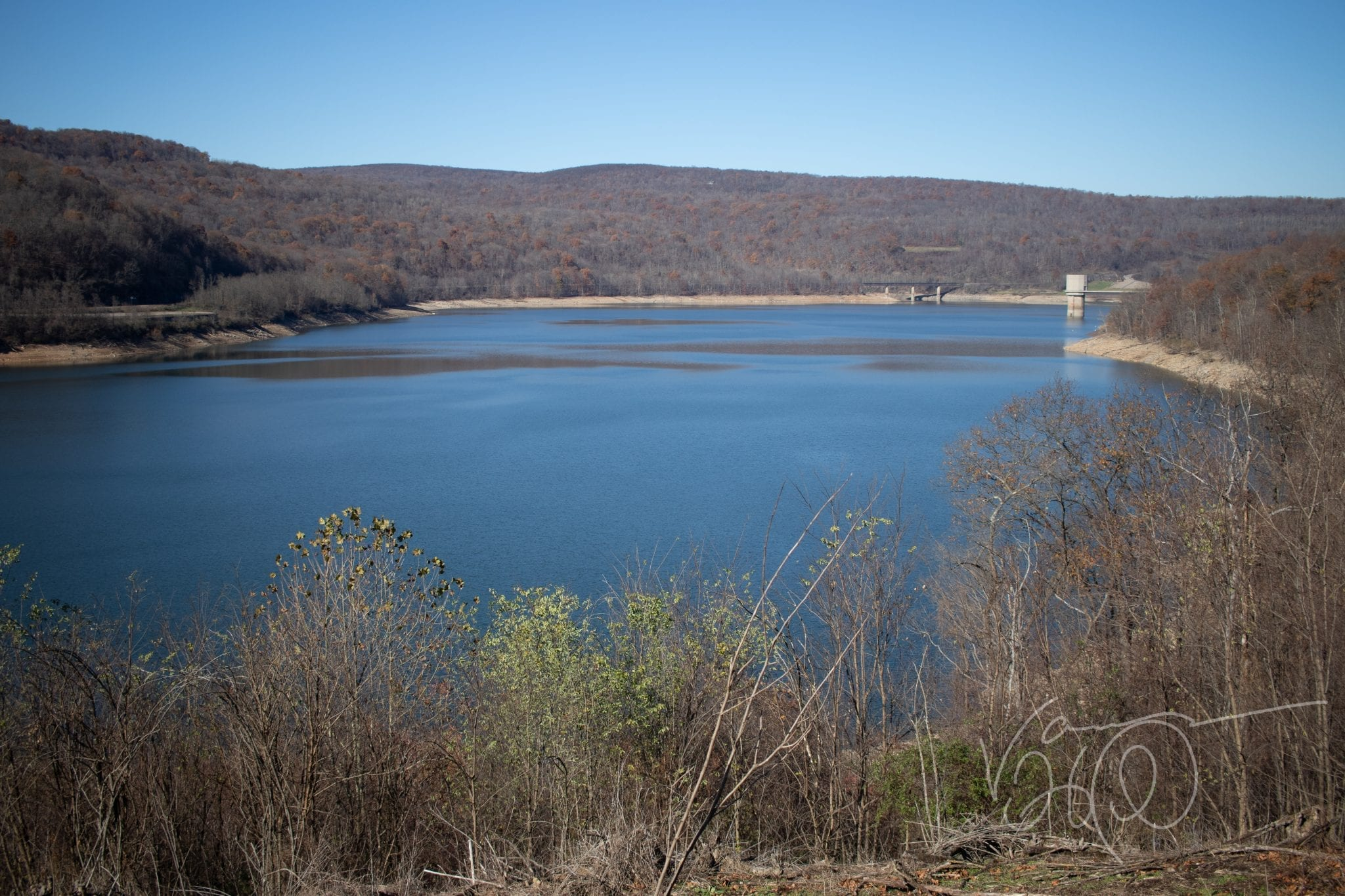 Cool blue water of Jennings Randolph Lake North Branch Potomac River in late fall
