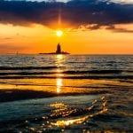 Cape Henlopen state park lighthouse at sunset