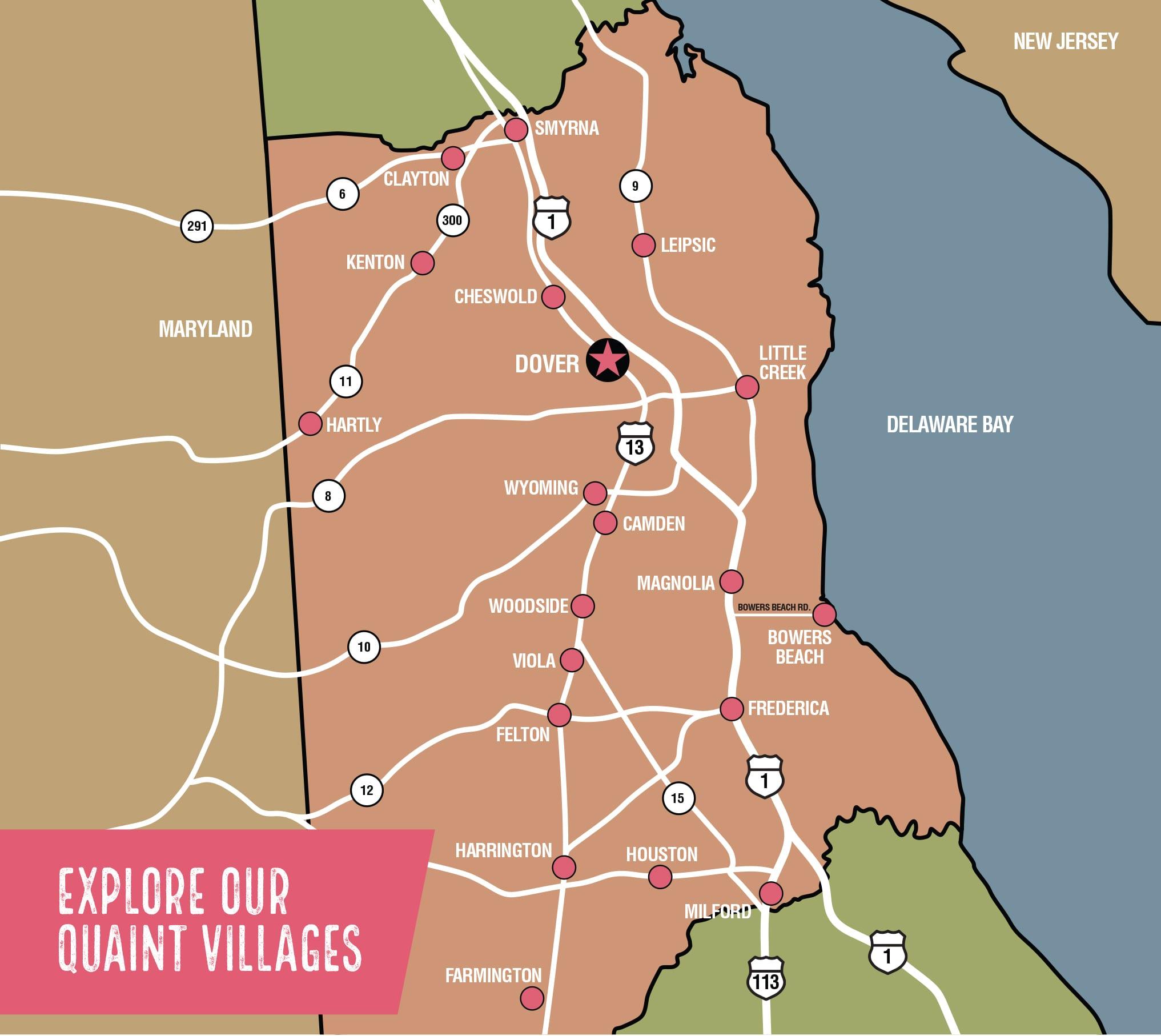 Delaware quaint villages map