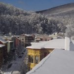Snow-covered rooftops in Jim Thorpe