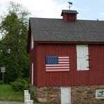 Bluemont Red Barn with American Flag