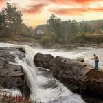 Man Fishing at a waterfall in Ohiopyle State Park