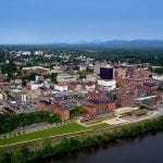 Aerial view of lynchburg virginia and james river