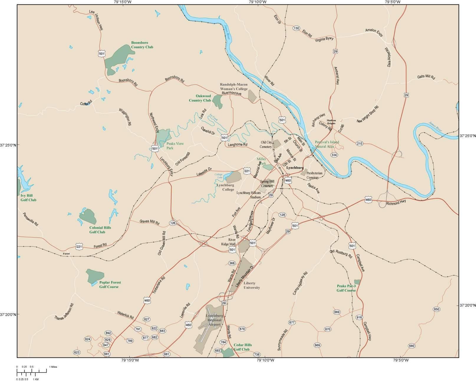 Map of the Lynchburg VA area