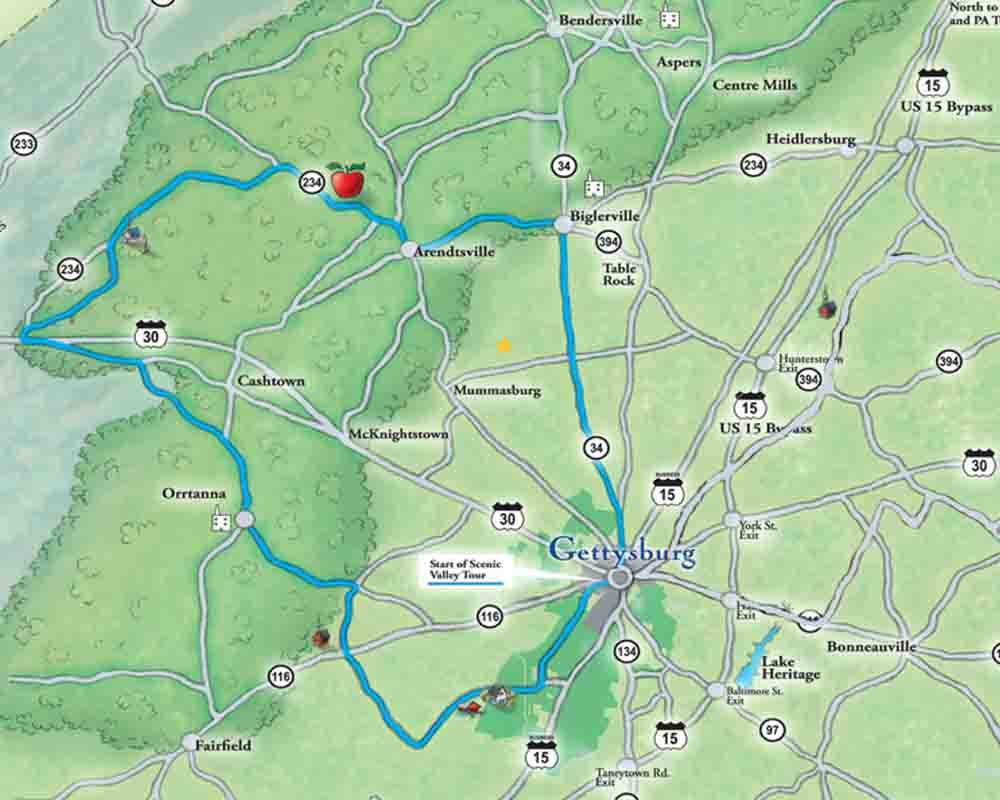 Gettysburg back road Scenic Tour Map