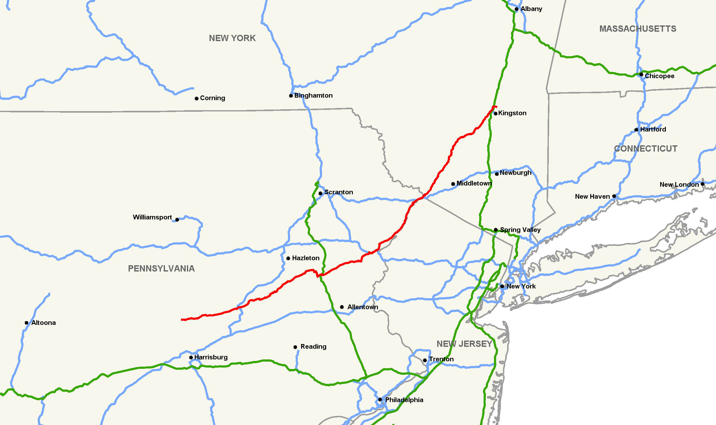 US Route 209 back road Map